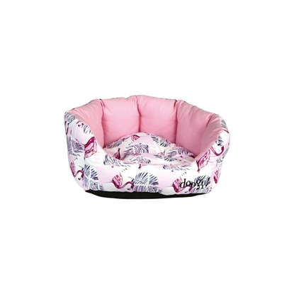 Picture of DOGGY PINK FLAMINGO PADDED BASKET
